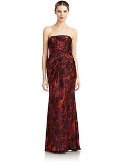 Carmen Marc Valvo - Strapless Printed Silk Satin Gown