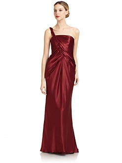 Carmen Marc Valvo - One-Shoulder Silk Satin Gown