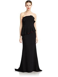 Carmen Marc Valvo - Strapless Pleated Peplum Gown