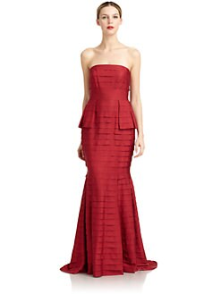 Carmen Marc Valvo - Strapless Tiered Grosgrain Gown