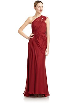 Carmen Marc Valvo - One-Shoulder Silk Chiffon Gown