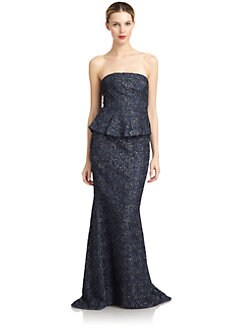Carmen Marc Valvo - Strapless Metallic Lace Gown