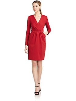 Carmen Marc Valvo - Long-Sleeve Gathered Sheath Dress