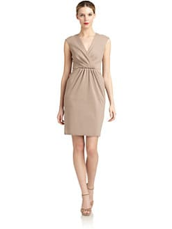 Carmen Marc Valvo - Cap-Sleeve Gathered Sheath Dress