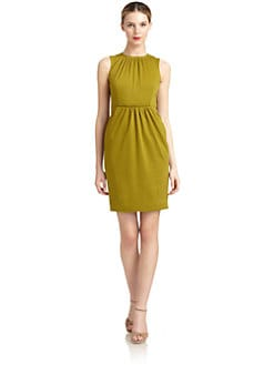 Carmen Marc Valvo - Sleeveless Gathered Sheath Dress
