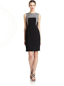 Carmen Marc Valvo - Metallic Ottoman Sheath Dress