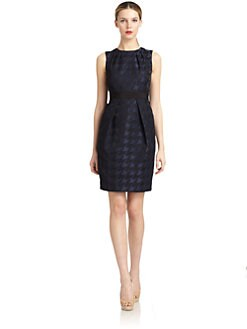 Carmen Marc Valvo - Jacquard Houndstooth Sheath Dress