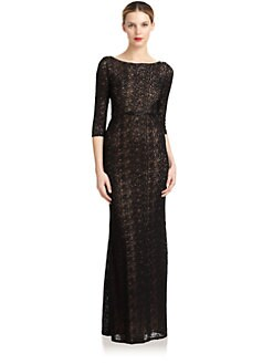 Carmen Marc Valvo - Beaded Lace Gown