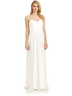 Badgley Mischka - Strapless Ruched Dress