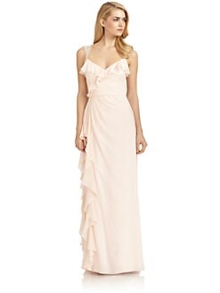 Badgley Mischka - Silk Beaded Strap Ruffle Gown/Pink