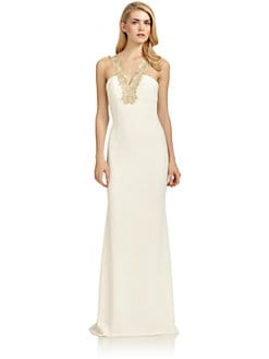 Badgley Mischka - Scroll Embroidered Gown