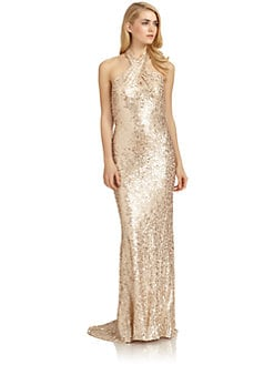 Badgley Mischka - Silk Sequin Crossover Halter Gown