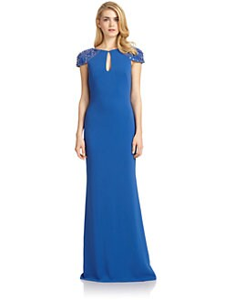 Badgley Mischka - Embellished Cap-Sleeve Keyhole Gown