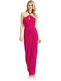 Badgley Mischka - Silk Keyhole Draped Halter Gown