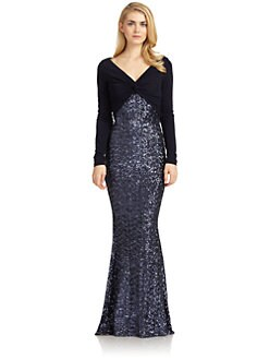 Badgley Mischka - Sequin Jersey Long-Sleeve Combo Gown