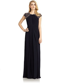 Badgley Mischka - Embellished Cap-Sleeve Pleated Jersey Gown