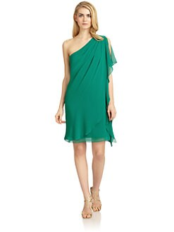 Badgley Mischka - One-Shoulder Draped Caftan Dress
