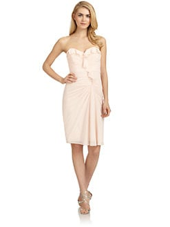 Badgley Mischka - Stretch Silk Strapless Ruffle Dress