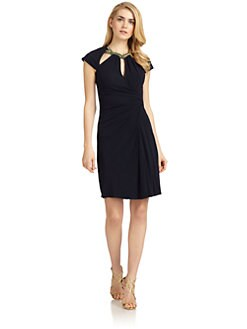 Badgley Mischka - Embellished Cutout Draped Jersey Dress