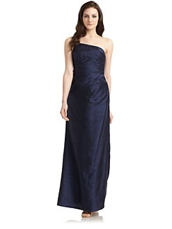 Phoebe Couture by Kay Unger - Dupioni Silk One-Shoulder Gown