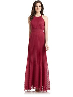 Phoebe Couture by Kay Unger - Pleated Crossback Gown