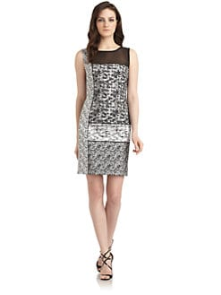 Phoebe Couture by Kay Unger - Illusion Neck Jacquard Cocktail Dress
