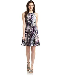 Phoebe Couture by Kay Unger - Satin Sequin Print Trapeze Dress