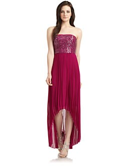 Phoebe Couture by Kay Unger - Silk Embellished Bodice Pleated Hi-Lo Gown