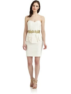 Notte by Marchesa - Strapless Metallic Applique Silk Cocktail Dress