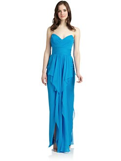 Notte by Marchesa - Strapless Sweetheart Silk Chiffon Gown