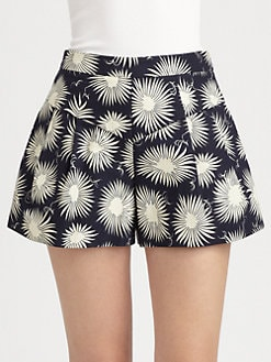 Milly - Susie Flared Floral-Print Shorts