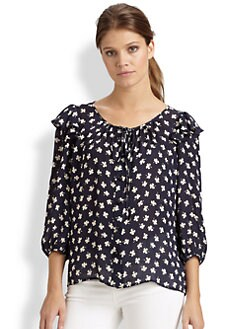 Milly - Yves Clover-Print Silk Blouse