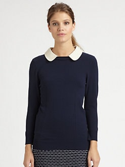 Milly - Leather-Collar Sweater