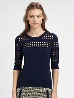 Milly - Pointelle Cutout Sweater