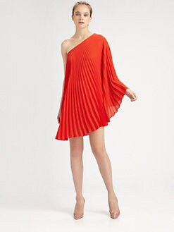Milly - Nicola Pleated One-Shoulder Dress