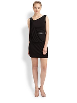 Milly - Iris Draped Leather-Trim Dress