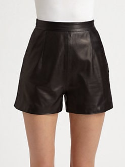 Milly - Kelsey Leather Shorts