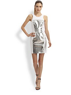Milly - Metallic Leather-Trim Dress