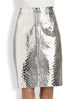 Milly - Snake-Print Leather Pencil Skirt