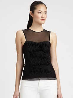 Milly - Sweetheart Mesh-Trim Top