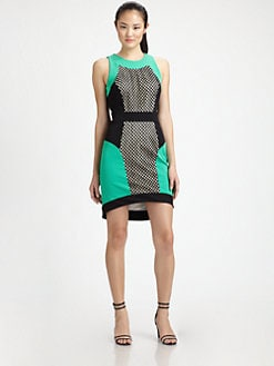 Milly - Mesh-Panel Colorblock Dress