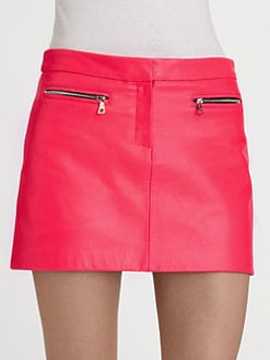 Milly - Zip-Pocket Leather Mini Skirt
