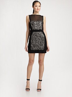 Milly - Pailettes Embellished Mesh-Trim Dress