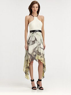 Milly - Breene Leather-Trim Silk Dress