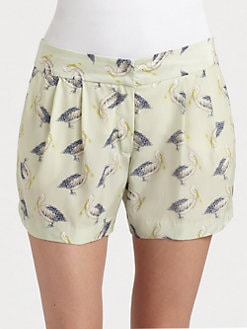 Milly - Printed Silk Shorts