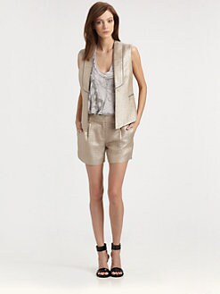 Milly - Piped Metallic Vest