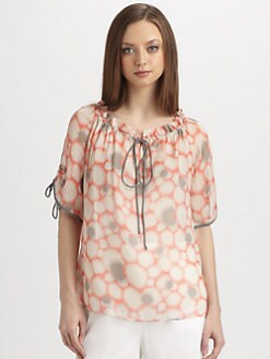 Milly - Amanda Silk Drawstring Blouse