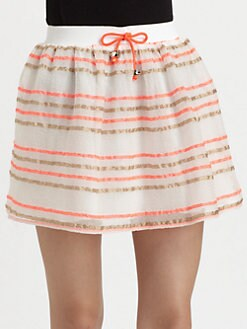 Milly - Paige Stretch-Silk Drawstring Skirt