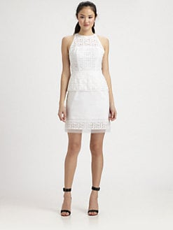 Milly - Mia Laser-Cut Peplum Dress