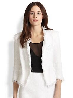 MILLY - Tweed Frayed Cropped Blazer